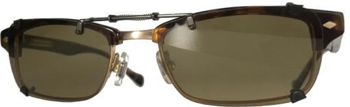 Spring loaded bridge clip-on sunglasses
