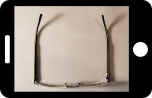 Bottom view of the frame, used to determine the length of the prongs for matching clip-on sunglasses