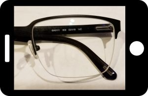 Front view of the left lens, used to create a pattern for custom clip-on sunglasses