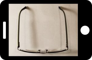 Top view of the frame, used to determine the curve of the matching clip-on sunglasses